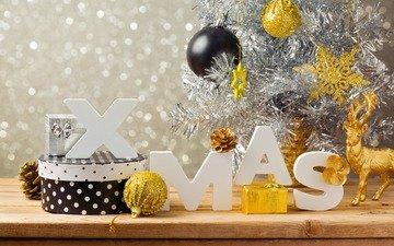 новый год, елка, шары, олень, подарок, рождество