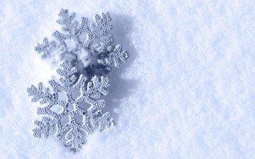 снег, зима, макро, снежинки