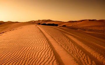 landschaft, sand, wüste, spuren, die dünen