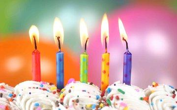 свечи, день рождения, торт