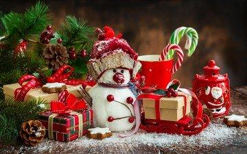 новый год, подарки, снеговик, рождество, шишки