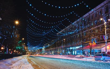 огни, зима, улица, россия, гирлянды, воронеж