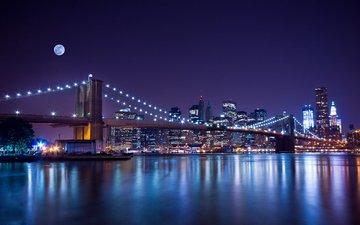 ночь, огни, мост, город, сша, нью-йорк, lisa combs