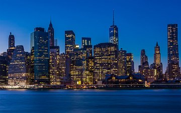 ночь, огни, город, нью-йорк