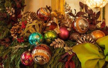 новый год, шары, рождество, шишки, елочные игрушки