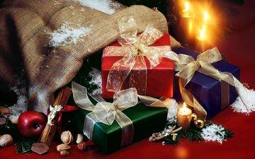 новый год, орехи, яблоки, подарки, рождество