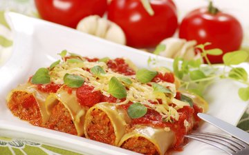 vegetables, tomatoes, filling, pasta, minced, cannelloni