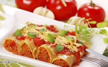 овощи, помидоры, начинка, паста, фарш, каннеллони