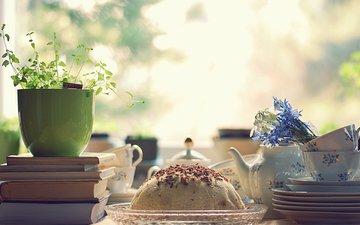 цветы, книги, кружки, растение, чайник, букетик, сладкое, десерт