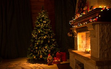 new year, tree, gifts, fireplace, christmas, garland