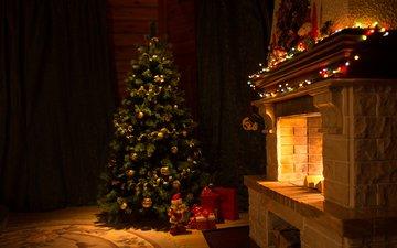 новый год, елка, подарки, камин, рождество, гирлянда