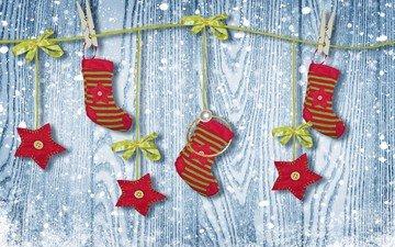 новый год, украшения, носки, рождество