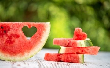 heart, watermelon, pieces, wooden surface