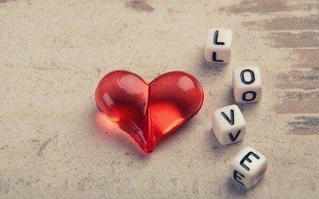 сердечко, буквы, сердце, кубики, любовь, влюбленная