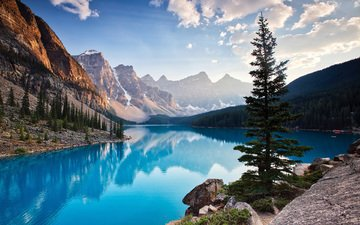 the sky, clouds, lake, mountains, nature, forest, morning, canada, moraine lake, banff national park