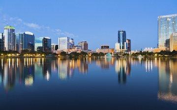 город, дома, сша, флорида, высотки, орландо