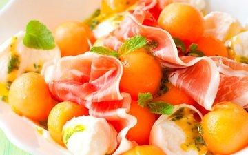 салат, закуска, дыня, ветчина, моцарелла