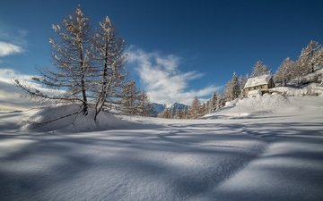 the sky, clouds, trees, snow, nature, winter, house, gabriele prato