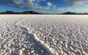 the sky, clouds, lake, mountains, landscape, salt, bonneville salt flats, bonneville, salt lake