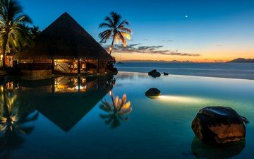nature, landscape, sea, bungalow, tropics