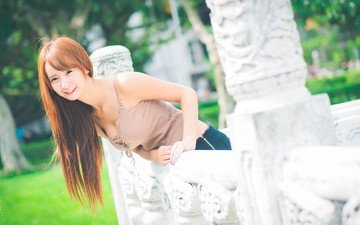 girl, smile, look, hair, face, asian, neckline