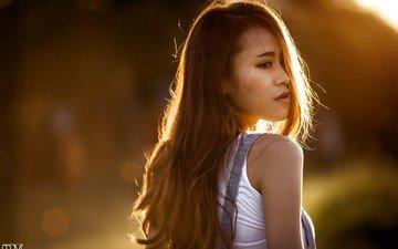 девушка, взгляд, профиль, волосы, лицо, азиатка