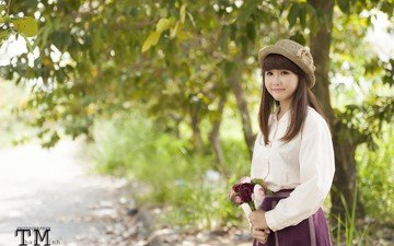 girl, smile, look, hair, bouquet, face, hat, asian