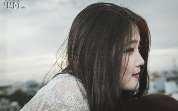 girl, look, profile, hair, face, asian