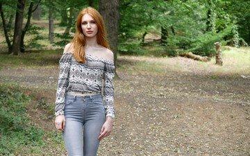 девушка, лето, взгляд, модель, джинсы, волосы, лицо, фигура