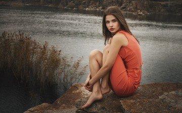 lake, nature, stones, girl, mood, morning, dress, pose, look, model, legs, face, brown hair, jeanne khudyakov, ivan kopchenov