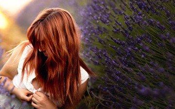 flowers, girl, lavender, model, spring, hair, face, redhead