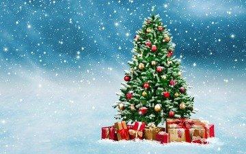 новый год, елка, подарки, рождество, снегопад