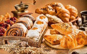 bread, cakes, buns, croissant, muffin, croissants, coffee grinder, cuts, puff