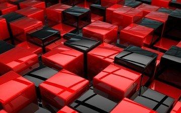 цвет, красные, рендеринг, кубики, кубы, куб, геометрия, чёрные
