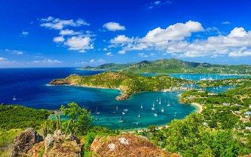 landschaft, das meer, die insel, karibik, antigua, antillen