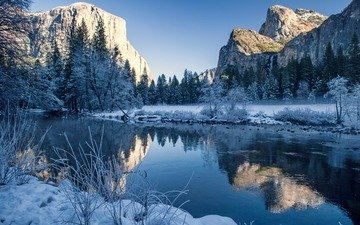 trees, river, mountains, nature, winter, reflection, landscape