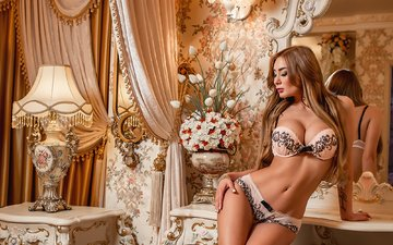 reflection, curtains, blonde, lamp, panties, mirror, tattoo, linen, bra, belly, tummy, a diakov george