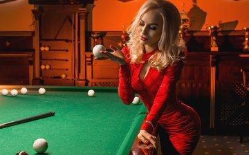 девушка, блондинка, взгляд, волосы, лицо, красное платье, бильярд, георгий дьяков