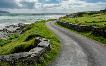 the sky, road, grass, clouds, nature, sea, coast