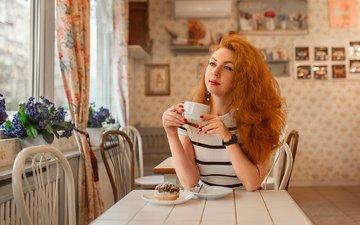 девушка, кафе, взгляд, волосы, лицо, георгий дьяков