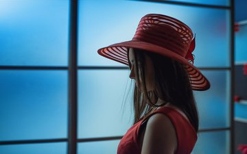 girl, look, profile, hair, face, hat, a diakov george