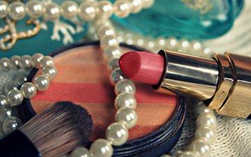 помада, ожерелье, жемчуг, косметика, пудра