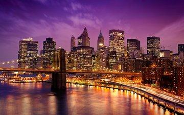 ночь, огни, мост, город, сша, нью-йорк, манхэттен