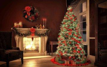 новый год, елка, камин, рождество