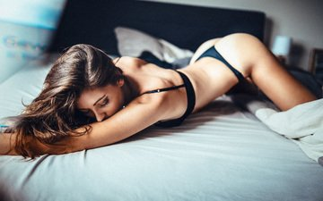 girl, brunette, model, black lingerie, closed eyes, in bed