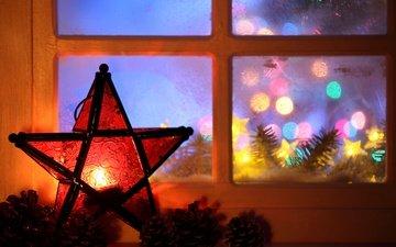 новый год, звезда, окно, рождество, гирлянда