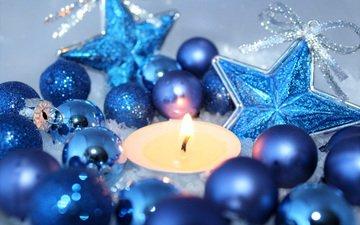 новый год, шары, свеча, рождество, елочные игрушки