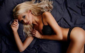 girl, blonde, model, posing, ass, black lingerie