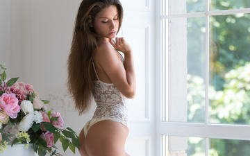 flowers, girl, look, model, room, hair, face, window, figure, underwear