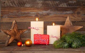 свечи, новый год, подарки, звезда, ель, рождество